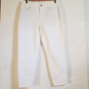 WHBM Skinny White Crop Jean